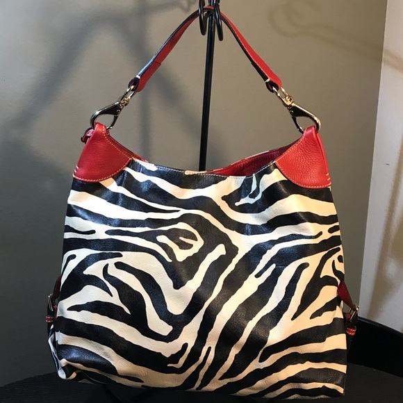 29bce568a21e Dooney   Bourke Handbags - DOONEY   BOURKE Zebra Print Canvas Leather Hobo